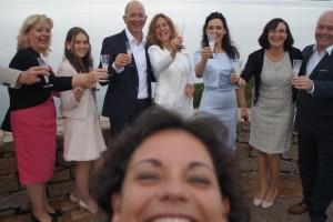 Wedding selfie after vows exchange on the beautiful terrace of Baja Sardinia....Wedding in the rain!